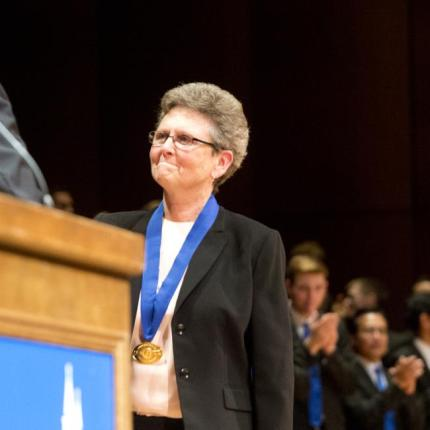 Sister Tesa accepts her prize at Gonzaga University. Photo: Jesse Tinsley/Spokesman-Review