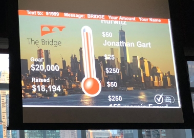 Through a texting mechanism, guests donated to The Bridge.