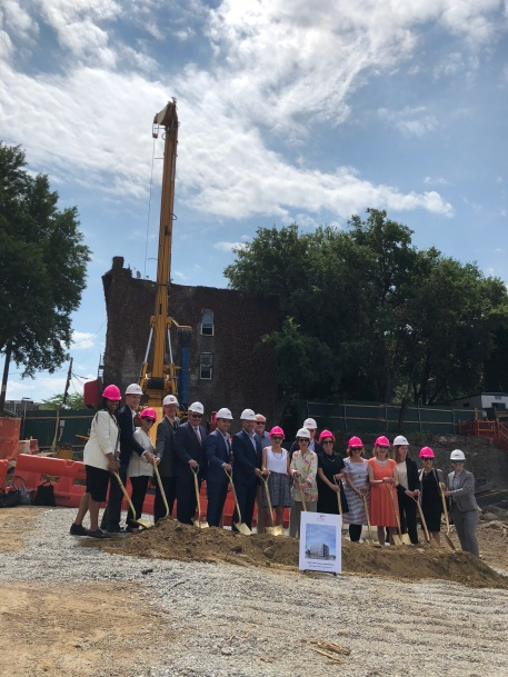 The speakers, developers, fundraisers, and our very own Andrew Knox were there for the official groundbreaking photo op.