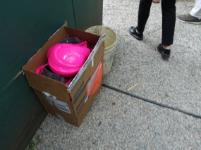 Luckily there were hot pink hardhats on hand for those without.